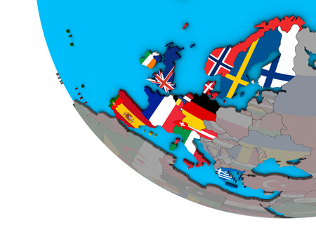 Western Europe with embedded national flags on simple 3D globe. 3D illustration.