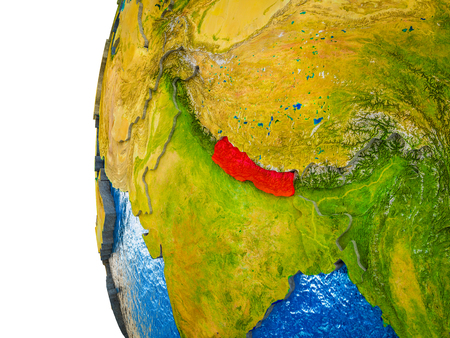 Nepal highlighted on 3D Earth with visible countries and watery oceans. 3D illustration. Фото со стока
