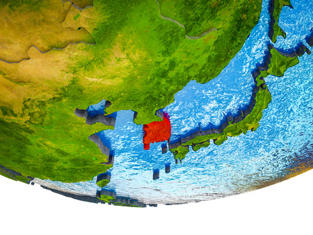 South Korea on 3D Earth with divided countries and watery oceans. 3D illustration.