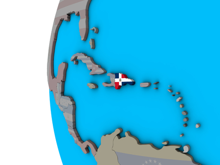 Dominican Republic with national flag on blue political 3D globe. 3D illustration.