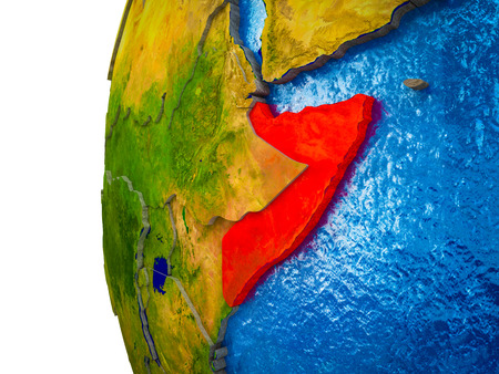 Somalia highlighted on 3D Earth with visible countries and watery oceans. 3D illustration.
