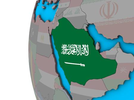 Saudi Arabia with national flag on blue political 3D globe. 3D illustration. Stock Photo