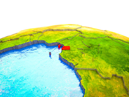 Equatorial Guinea on 3D Earth with visible countries and blue oceans with waves. 3D illustration.