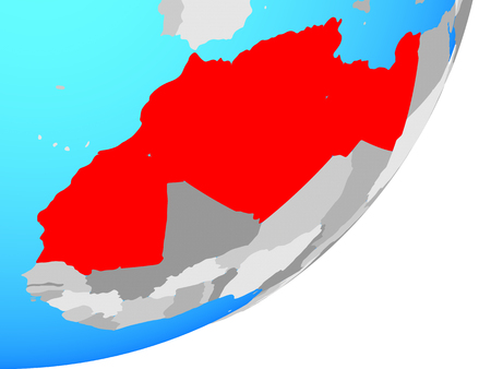Maghreb region on blue political globe. 3D illustration. Фото со стока