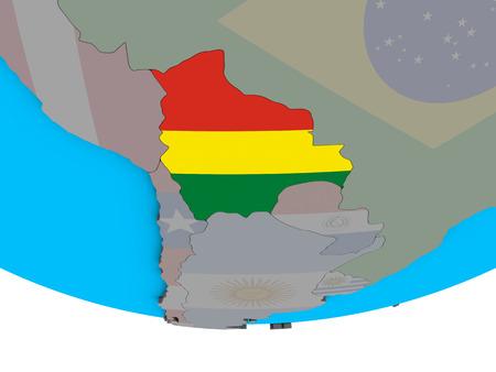 Bolivia with embedded national flag on simple political 3D globe. 3D illustration. Reklamní fotografie