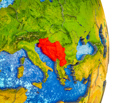 Former Yugoslavia on 3D model of Earth with divided countries and blue oceans. 3D illustration.