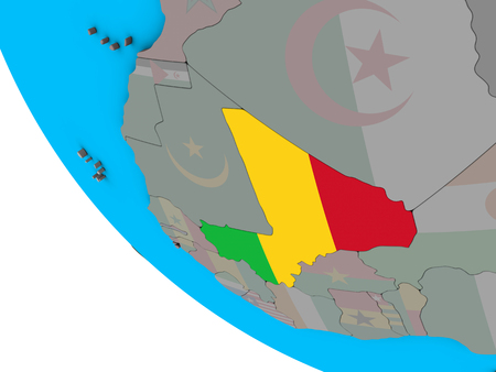 Mali with embedded national flag on simple 3D globe. 3D illustration.