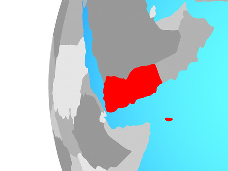 Yemen on blue political globe. 3D illustration.