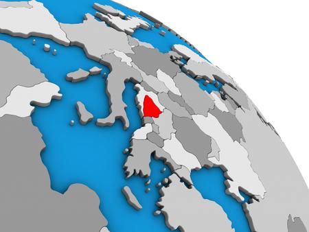 Bosnia and Herzegovina on simple blue political 3D globe. 3D illustration.