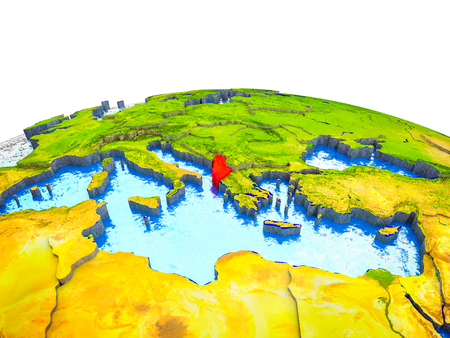 Albania on 3D Earth with visible countries and blue oceans with waves. 3D illustration. Stock Photo