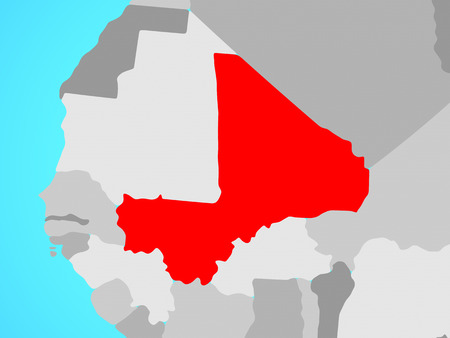Mali on blue political globe. 3D illustration.