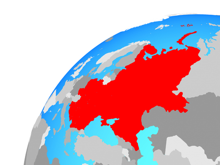 Eastern Europe on globe. 3D illustration.