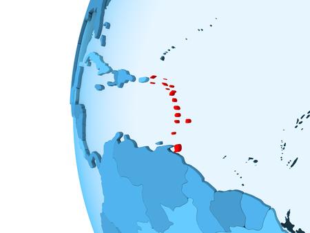 3D render of Caribbean in red on blue political globe with transparent oceans. 3D illustration.