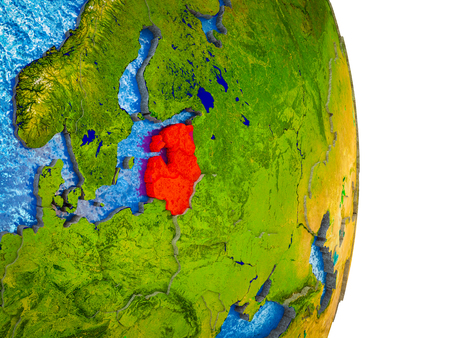 Baltic States on 3D model of Earth with divided countries and blue oceans. 3D illustration.