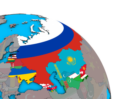 Former Soviet Union with embedded national flags on simple blue political 3D globe. 3D illustration.