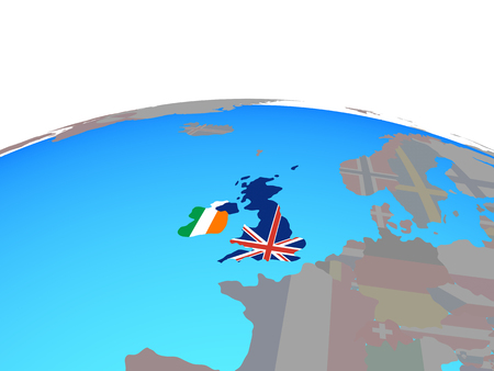 British Isles with national flags on political globe. 3D illustration.