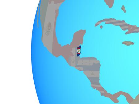 Belize with embedded national flag on blue political globe. 3D illustration. Stock Photo