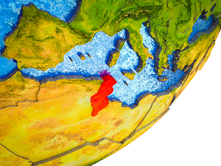 Tunisia on 3D model of Earth with water and divided countries. 3D illustration.