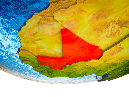Mali on 3D Earth with divided countries and watery oceans. 3D illustration.