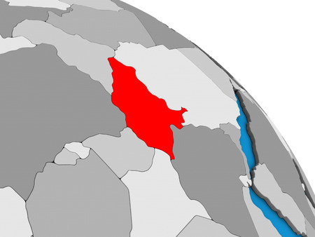 South Sudan on simple blue political 3D globe. 3D illustration.