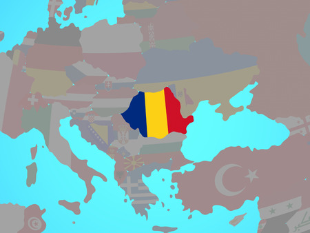 Romania with national flag on blue political globe. 3D illustration.