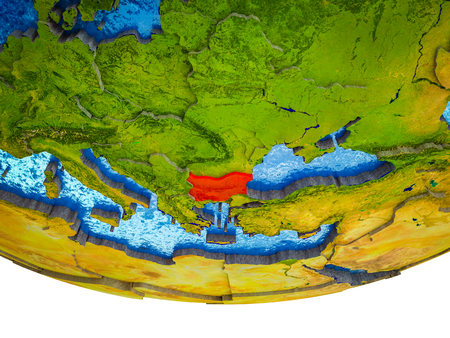 Bulgaria on 3D Earth with divided countries and watery oceans. 3D illustration. Stock Photo