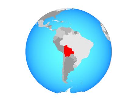 Bolivia on blue political globe. 3D illustration isolated on white background. Reklamní fotografie