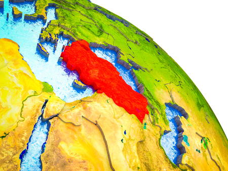 Turkey Highlighted on 3D Earth model with water and visible country borders. 3D illustration.