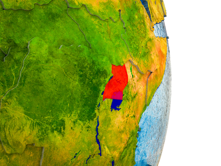 Uganda on 3D model of Earth with divided countries and blue oceans. 3D illustration.