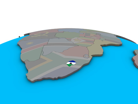 Lesotho with embedded national flag on political 3D globe. 3D illustration.