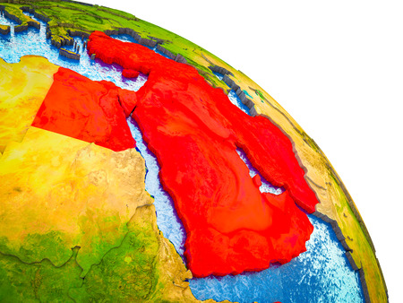 Middle East Highlighted on 3D Earth model with water and visible country borders. 3D illustration.