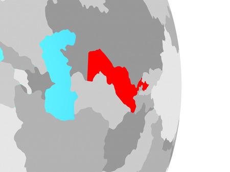 Uzbekistan on simple political globe. 3D illustration. Stock Photo