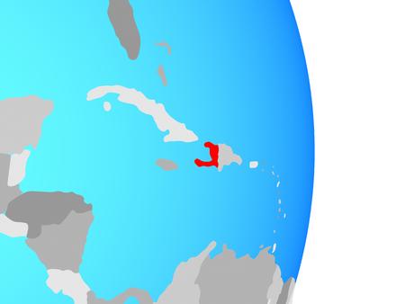 Haiti on simple political globe. 3D illustration.