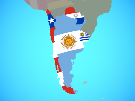 Southern Cone with national flags on blue political globe. 3D illustration.