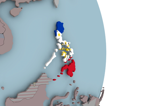 Philippines with embedded national flag on political globe. 3D illustration.