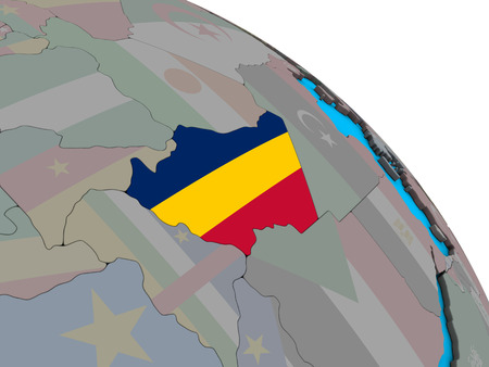 Chad with embedded national flag on simple blue political 3D globe. 3D illustration. Фото со стока
