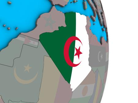Algeria with embedded national flag on simple political 3D globe. 3D illustration.