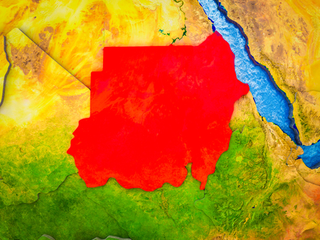 Sudan on model of 3D Earth with blue oceans and divided countries. 3D illustration.