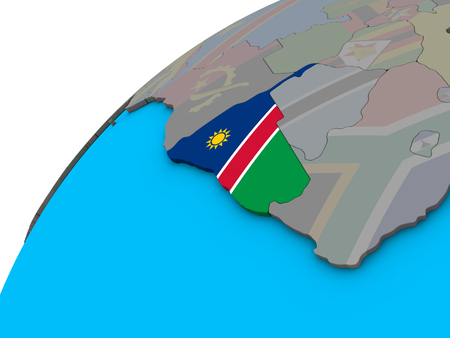 Namibia with national flag on 3D globe. 3D illustration.