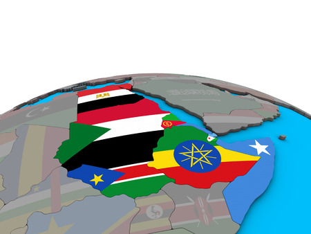 Northeast Africa with embedded national flags on political 3D globe. 3D illustration. Stock Photo