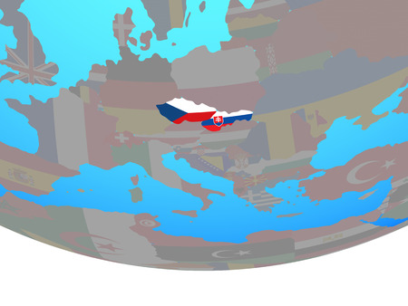Former Czechoslovakia with national flags on simple political globe. 3D illustration. 写真素材
