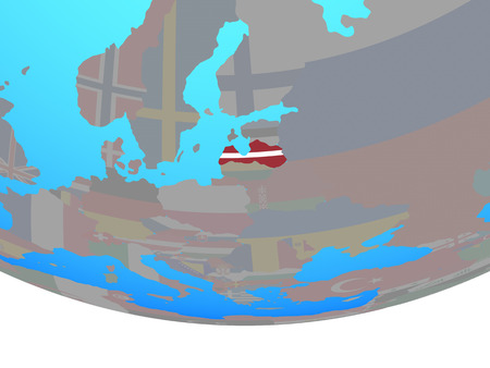 Latvia with national flag on simple political globe. 3D illustration.