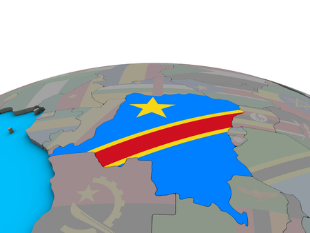 Dem Rep of Congo with embedded national flag on political 3D globe. 3D illustration.