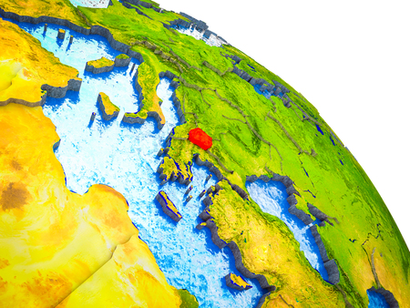 Macedonia Highlighted on 3D Earth model with water and visible country borders. 3D illustration. Stockfoto