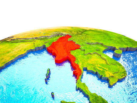 Myanmar on 3D Earth with visible countries and blue oceans with waves. 3D illustration. Stock Photo