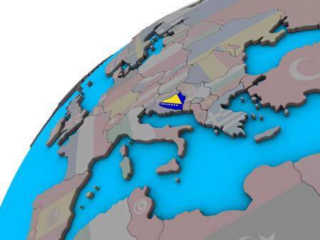 Bosnia and Herzegovina with national flag on 3D globe. 3D illustration.