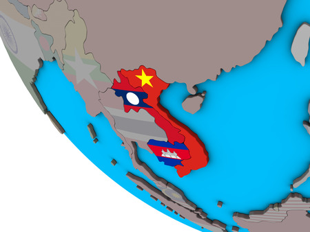 Indochina with embedded national flags on simple 3D globe. 3D illustration.