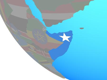 Somalia with national flag on simple globe. 3D illustration.