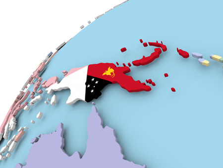 Map of Papua New Guinea on political globe with embedded flag. 3D illustration. Stock Photo