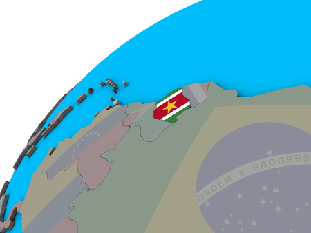 Suriname with national flag on 3D globe. 3D illustration.
